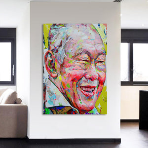 HD Printed 1 piece canvas Art Abstract Portrait Color Face Painting Old Man Wall Picture for Living Room Free shipping CU-1628C