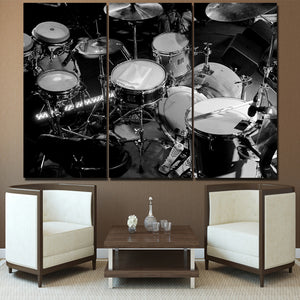 HD Printed 3 Piece Canvas Art Music Instrument Painting Black White Drums Wall Pictures for Living Room Free Shipping NY-7021B