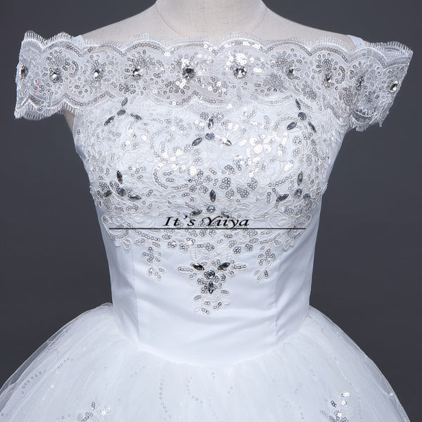 Free shipping YiiYa 2016 Red White Boat Neck Wedding Dresses Princess Gowns Bridal Frocks Short Sleeves Vestidos De Novia XXN143