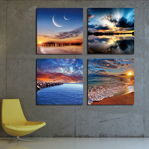 4 Panel Modern Sea Wave Painting Pictures Homd Decor Cuadros Wall Art Ocean Sunset Painting Canvas Prints Unframed