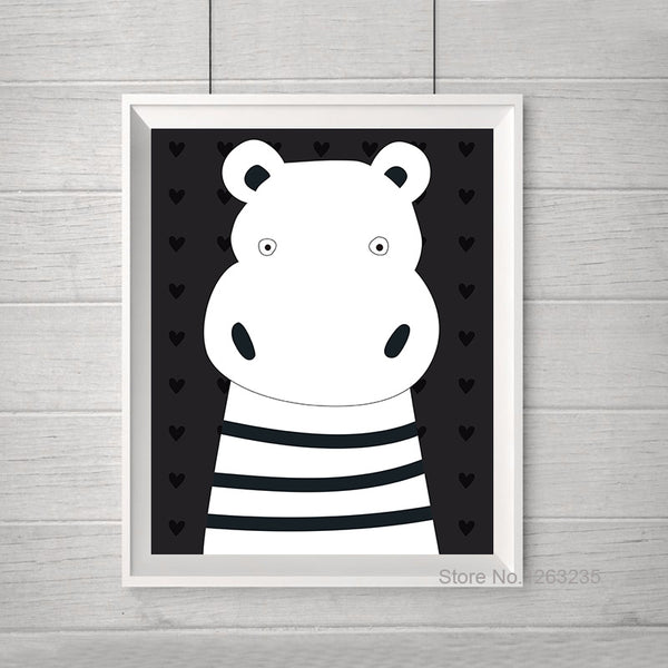 Wall Art Canvas Painting Art Prints Paintings Hippo Star Nursery Wall Pictures For Living Room Nordic Decoration Poster Unframed