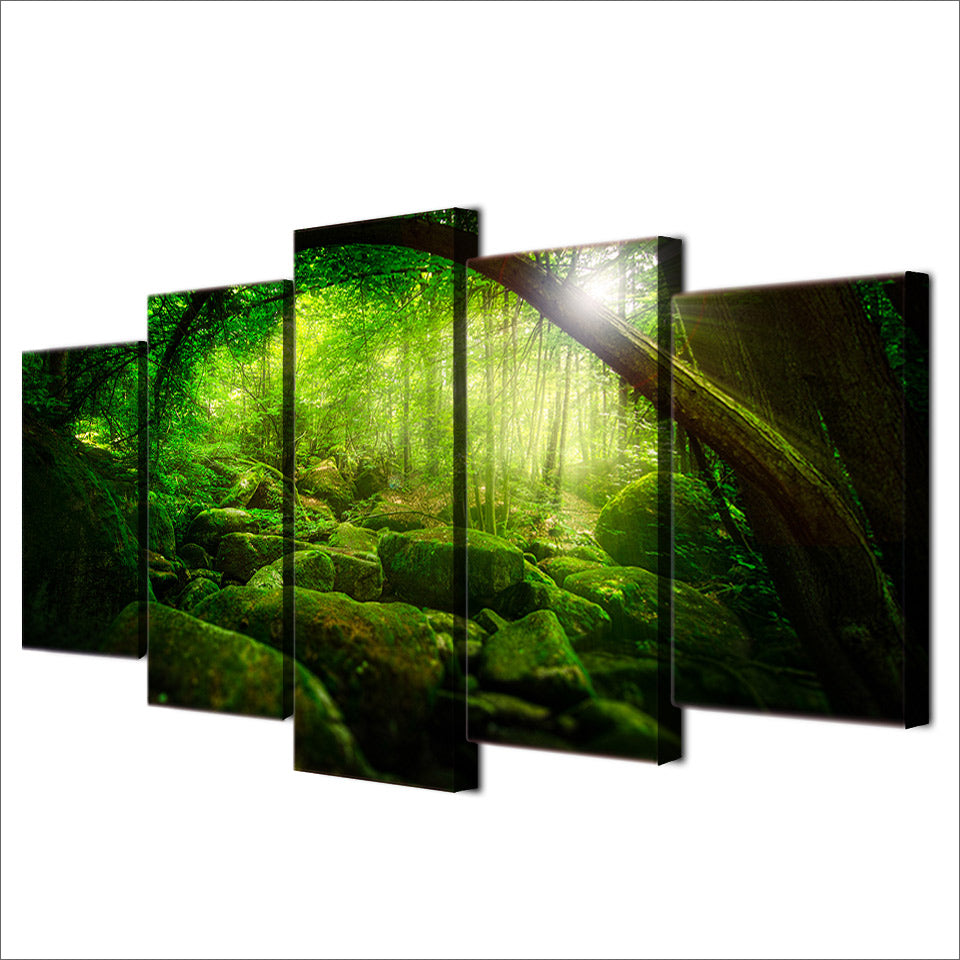 HD Printed 5 Piece Canvas Art Green Forest Painting Shimmer Wall Picture For Living Room Minimalist decor Free Shipping NY-6574A
