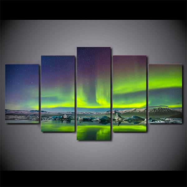 HD Printed 5 Piece Canvas Art Aurora Psychedelic Starry Sky Painting Wall Pictures for Living Room Modern Free Shipping NY-6790B