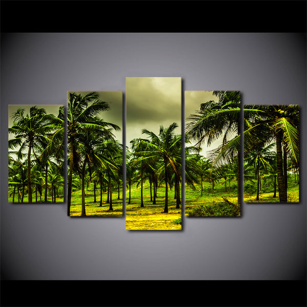 HD Printed 5 Piece Canvas Art Tropical Coconut Grove Painting Green Forest Wall Pictures for Living Room Free Shipping NY-7003C