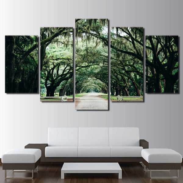 HD Printed 5 Piece Canvas Art Tropical Banyan Tree Painting Green Forest Wall Pictures for Living Room Free Shipping NY-7009B