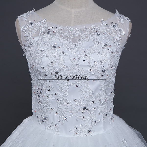 Free shipping 2016 Sequins O-neck White Wedding Dresses Princess Vestidos De Novia Wedding Ball Gowns Cheap Wedding Frocks HS230