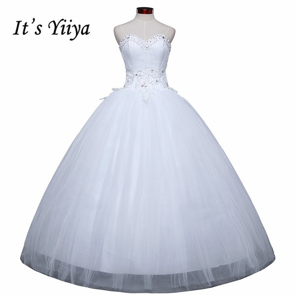 Free shipping cheap white wedding frock lace up princess wedding dress romantic wedding gown dresses Vestidos De Novia H39