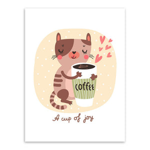 Kawaii Animals Cat Fox A4 Art Print Posters Coffee Tea Living Room Wall  Pictures Canvas Painting No Framed Kids Room Decoration Write Review