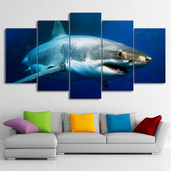 HD Printed 5 Piece Canvas Blue Ocean White Shark Painting Framed Wall Pictures for Living Room Modern Free Shipping CU-1711B