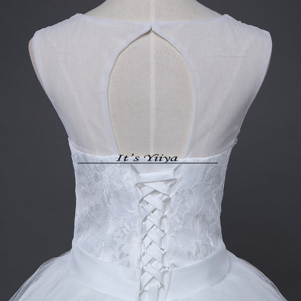 Free shipping 2015 new bridal white wedding dress princess wedding gown cheap romantic lace up bride Vestidos De Novia Y617