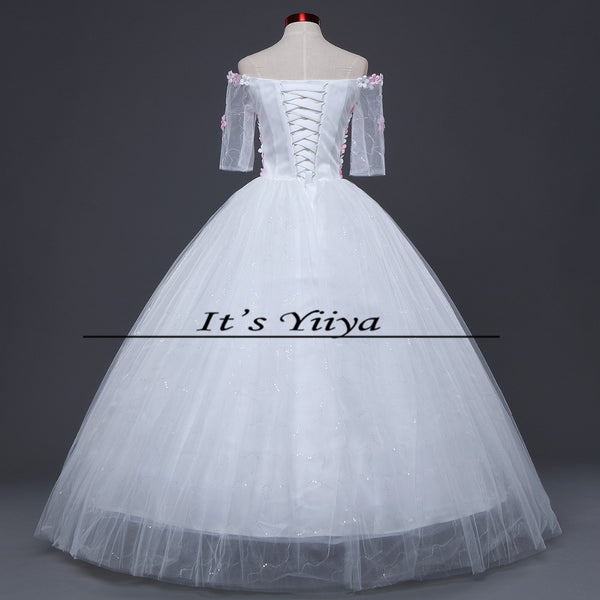 Free Shipping 2017 Vestidos De Novia Boat neck  Flower Tulle Sleeves Wedding Dresses White Cheap Bride Frocks Plus size H606