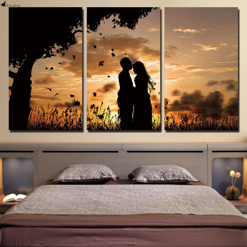 HD printed 3 piece canvas art couple sunset shadow Painting wall pictures for living room canvas painting Free shipping ny-6545