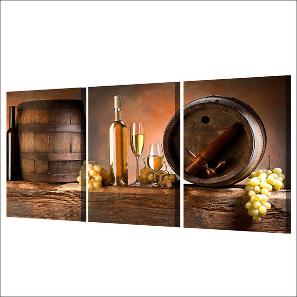 3 piece canvas art grape wine glasses barrels canvas painting posters and prints wall picture for living room ny-6655D