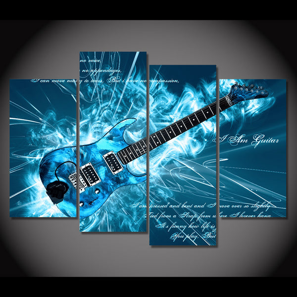 HD Printed 4 Piece Canvas Art Cool Blue Abstract Guitar Painting Wall Pictures for Living Room Modern Free Shipping NY-7029A