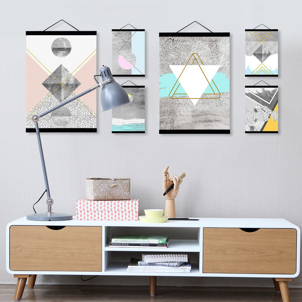 Modern Nordic Abstract Geometric Texture Shape Wooden Framed Canvas Painting Home Decor Big Wall Art Print Picture Poster Scroll