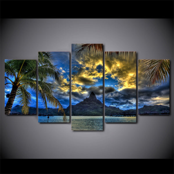 5 Piece Canvas Art Clouds Mountain Palms Canvas Painting Wall Art Canvas Poster and Prints Wall Picture for Living Room ny-6627A