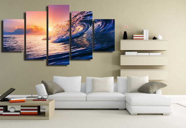 HD Printed ocean wave blue sea sky Painting Canvas Print room decor print poster picture canvas Free shipping/NY-5920
