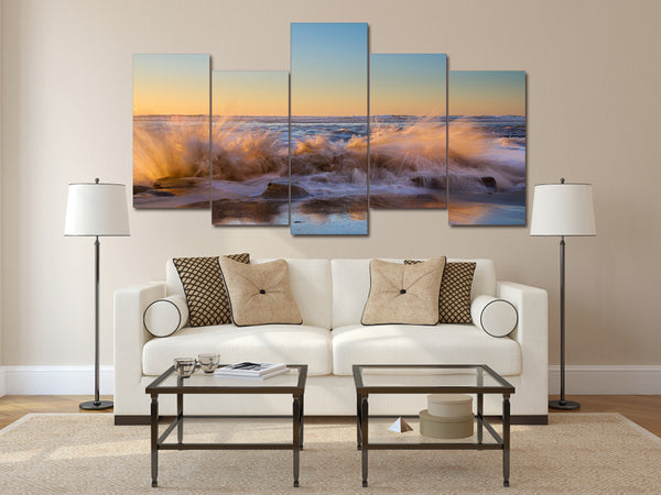 HD Printed The sunset beach waves Painting on canvas room decoration print poster picture Free shipping/ny-2072