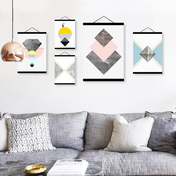 Abstract Geometric Texture Shape Wooden Framed Canvas Painting Modern Nordic Home Decor Big Wall Art Print Picture Poster Scroll