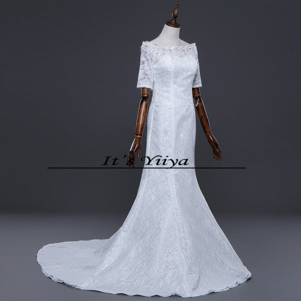 Free SHIPPING New Boat Neck White Red Wedding Frocks Vestidos De Novia Mermaid Train Dresses Half Sleeves Trailing Gowns XXN157