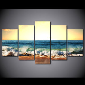 HD Printed 5 Piece Canvas Art Seascape Painting Sea Level Framed Poster Wall Pictures for Living Room Free Shipping NY-7011C