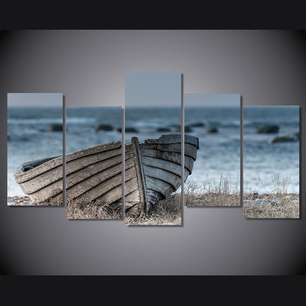 HD Printed Old small wooden boat Painting Canvas Print room decor print poster picture canvas Free shipping/ny-2576