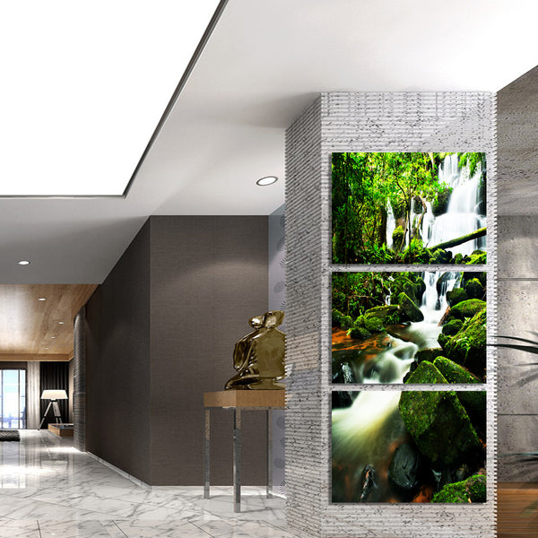 HD printed 3 piece canvas Virgin forest waterfall Painting wall pictures for living room canvas painting Free shipping/ny-6416D