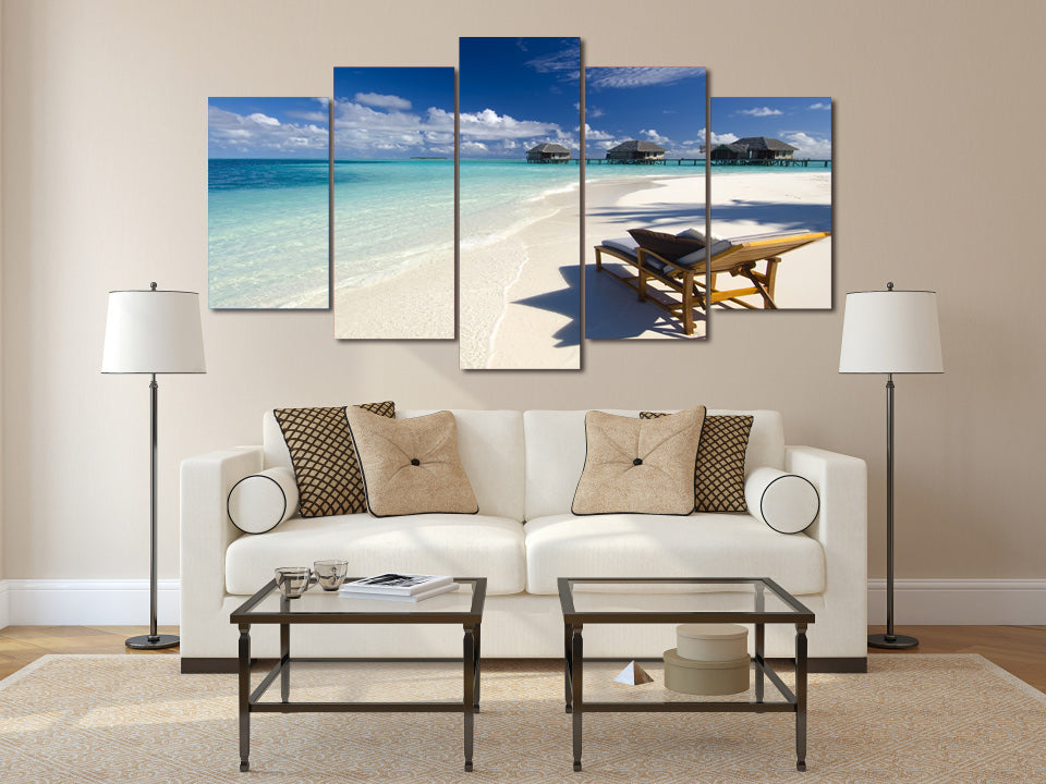 HD Printed Seaview Beach 5 pieces Group Painting room decor print poster picture canvas Free shipping/ny-560
