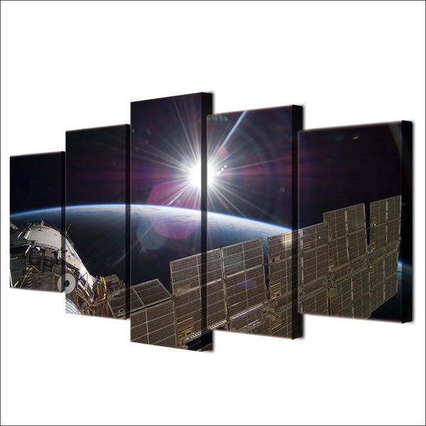 HD Printed 5 Piece Canvas Art International Space Station Painting Framed Wall Pictures for Living Room Free Shipping NY-6923A