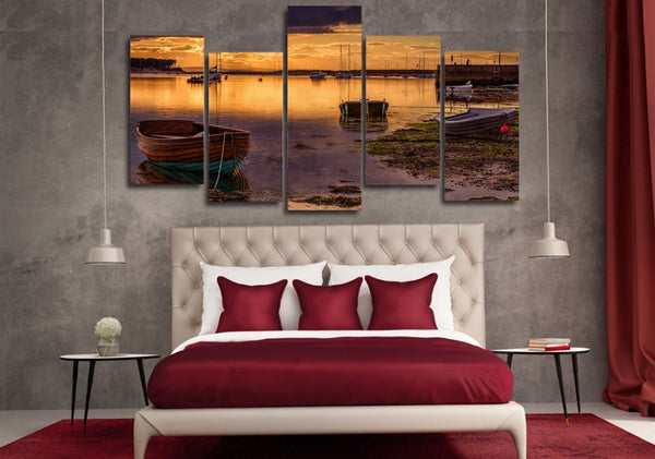 HD Printed Lake boat dock Painting on canvas room decoration print poster picture canvas Free shipping/ny-4197