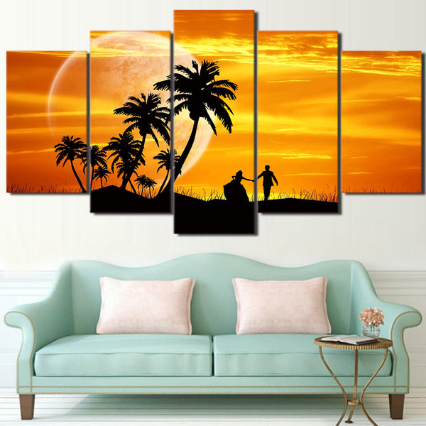 HD Printed 5 Piece Canvas Art Sunset Couple Coconut Tree Moon dusk Painting Wall Pictures for Living Room Free Shipping NY-6797A