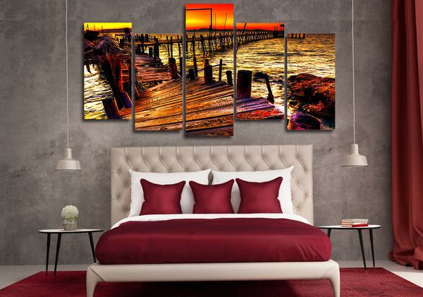 HD Printed voda prichal nebo gorizont Painting on canvas room decoration print poster picture canvas Free shipping/ny-5017