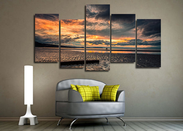 HD Printed Sunset Beach at low tide Painting on canvas room decoration print poster picture Free shipping/ny-1955