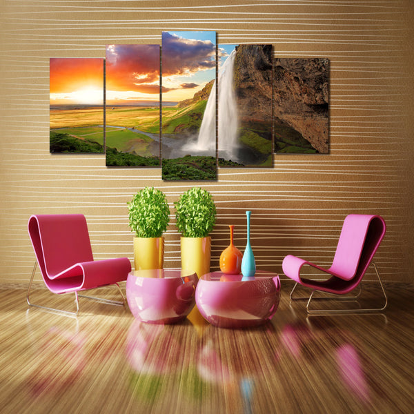 HD Printed Sunset Falls Group Painting Canvas Print room decor print poster picture canvas Free shipping/ny-1727
