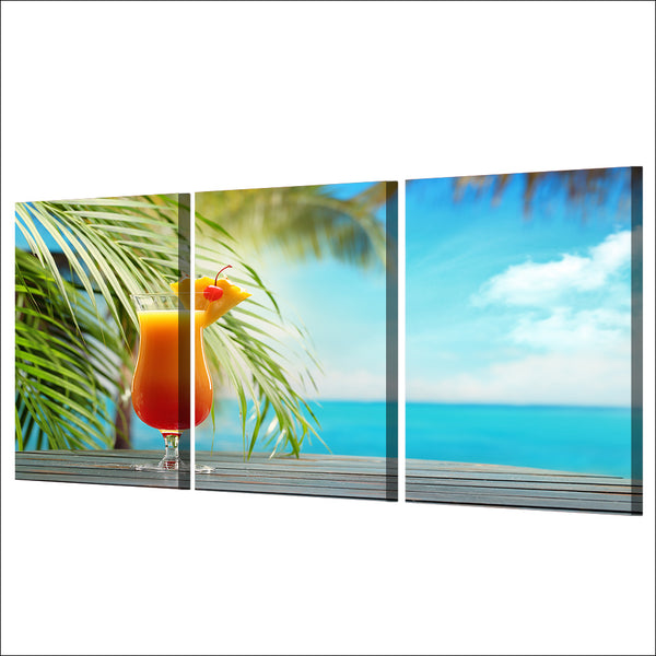 HD Printed 3 Piece Canvas Art Fruit Drink Painting Tropical Beach Seascape Wall Pictures for Living Room Free shipping NY-6970D