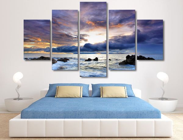 HD Printed Dark clouds seaside reefs Painting Canvas Print room decor print poster picture canvas Free shipping/BK104