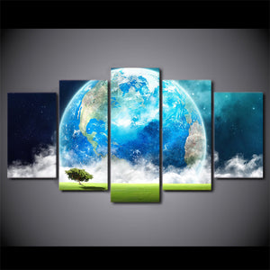 HD Printed 5 Piece Canvas Art Blue Earth Planet Modern Abstract Painting Wall Pictures for Living Room Free Shipping NY-6930A