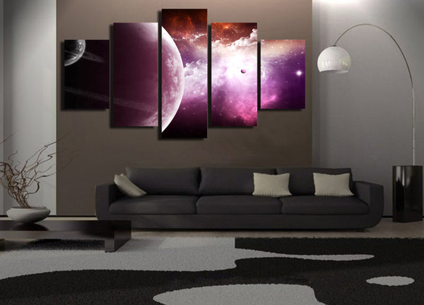 5 piece wall canvas HD Printed planet universe Starry sky cloud Painting Canvas Print room decor poster picture canvas/ny-6079