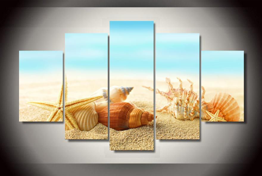 HD Printed seashells starfishes beach Group Painting Canvas Print room decor print poster picture canvas Free shipping/ny-1477