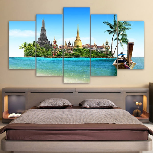 HD Printed 5 Piece Canvas Art Thiland Pattay Buddha Temple in sea painting pictures for Living Room Free Shipping NY-7033C
