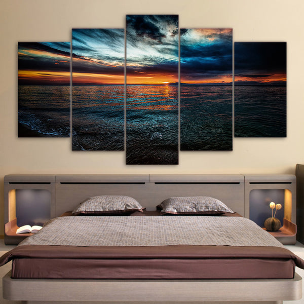 5 Piece Canvas Art Seascape Evening Beach HD Printed Home Decor Canvas Painting Picture Poster Prints Free Shipping NY-6579A