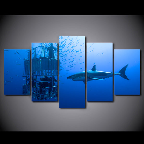 HD Printed 5 Piece Canvas Art Large Shark Painting Deep Blue Ocean Wall Pictures for Living Room Free Shipping CU-1756B