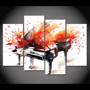 HD Printed 4 Piece Canvas Art Abstract Red Piano Painting Wall Pictures for Living Room Framed Modular Free Shipping NY-7028D