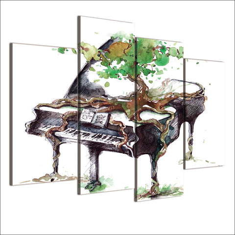 HD Printed 4 Piece Canvas Art Abstract Piano Painting Music Wall Pictures for Living Room Framed Modular Free Shipping NY-7027D