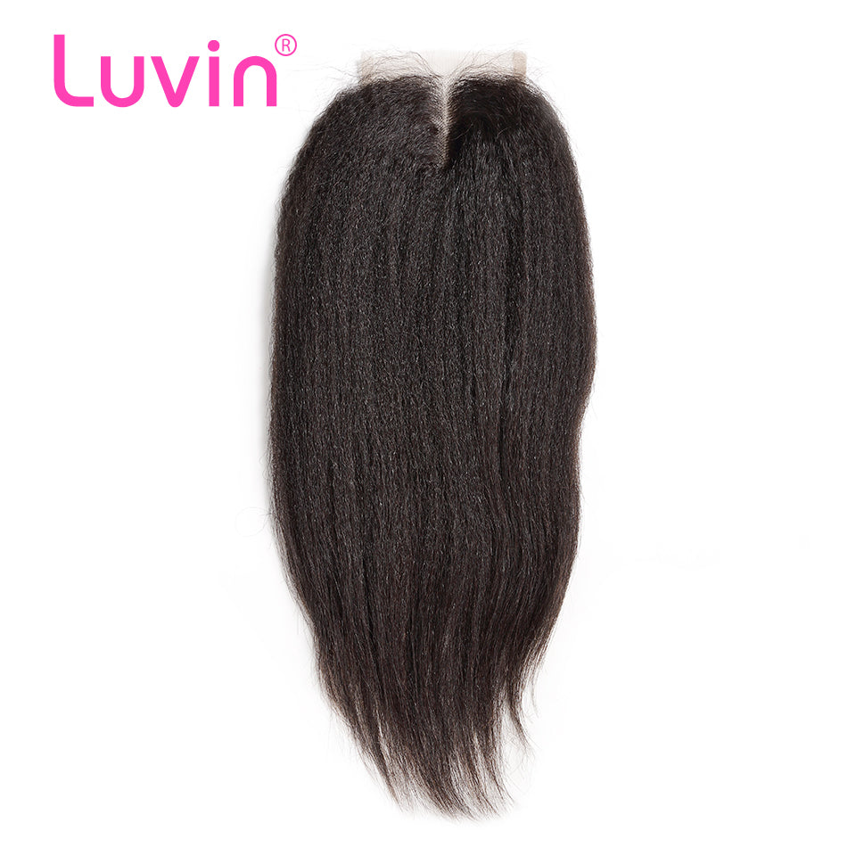 Luvin Brazilian Kinky Straight Hair Lace Closure 4x4 Bleached Knot With Baby Hair Middle Part 100% Remy Human Hair Shipping Free