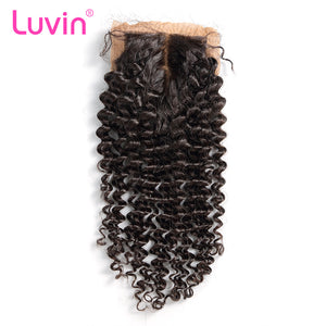 Luvin Malaysian Remy Curly Hair Silk Base Closure 100% Human Hair Middle Part Bleached Knots With Baby Hair