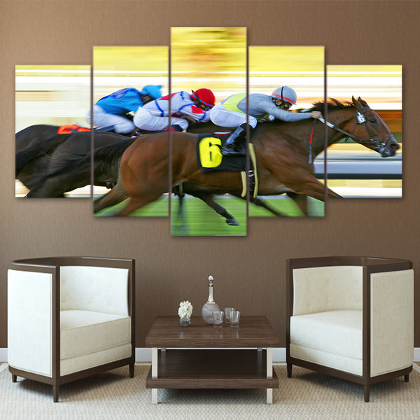 HD Printed 5 Piece Canvas Art Fast Horse Racing Painting Modular Framed Wall Pictures Room Decor Free Shipping NY-7049B