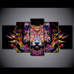 HD Printed canvas painting 5 piece color lion canvas prints animal head paintings posters and prints Free shipping/CU-1413B