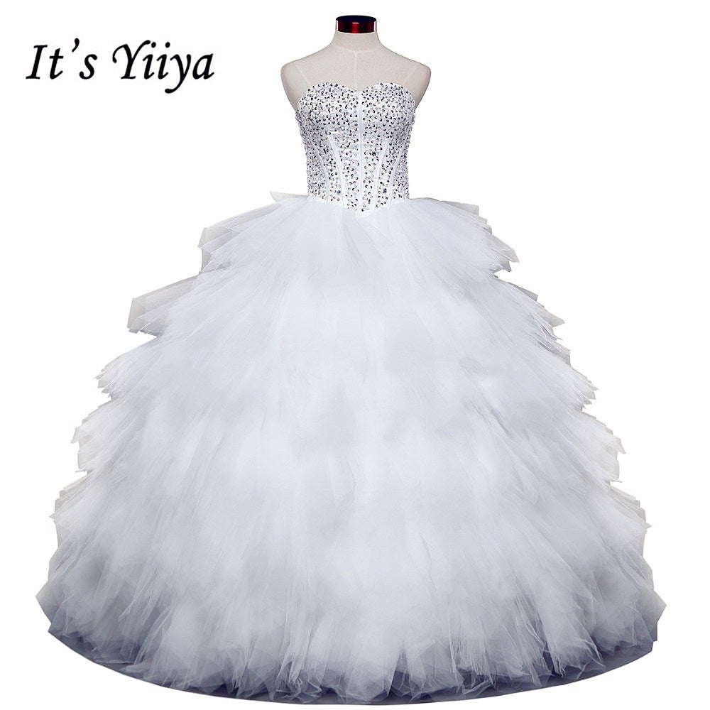Free shipping 2016 Romantic Tulle White Wedding Dresses Luxury Bride Vestidos De Novia Princess Wedding Frocks Ball Gowns HS581