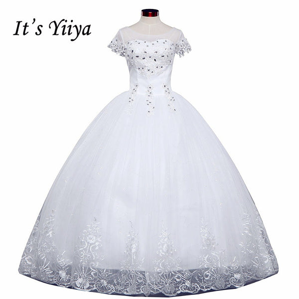 Free shipping White Wedding Ball Gowns Flowers Short Sleeves Cheap Princess Vestidos De Novia Wedding Frock Bride Dress HS233
